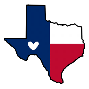 Texas symbol with a heart on it