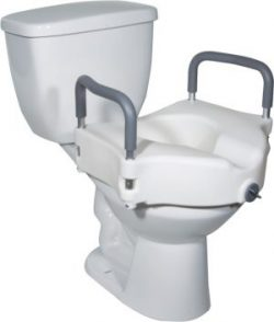 Newly installed raised toilet seat